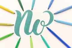 Фраза нарисованная рукой НЕТ на белом листе Стоковое Изображение