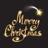 Фраза с Рождеством Христовым Литерность золота с падающей звездой Стоковое Изображение