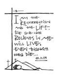Фраза Bliblic: Я воскресение и жизнь Стоковые Фото