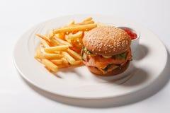Фраи гамбургера и француза фаст-фуда на белой плите Стоковые Изображения RF
