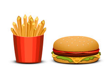 Фраи и бургер француза на белой предпосылке Быстро-приготовленное питание бесплатная иллюстрация