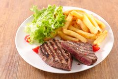 Фраи стейка и француза говядины стоковые изображения rf