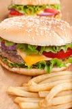 Фраи Cheeseburger и француза Стоковые Фотографии RF