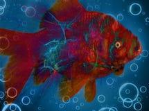 Фракталь: Заплывание рыбки в открытом море с пузырями иллюстрация штока