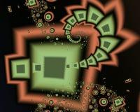 Фракталь: Квадраты, круги и спирали летания иллюстрация вектора