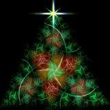 Фракталь: Накаляя неоновая рождественская елка иллюстрация вектора