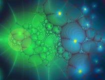 Фракталь: Накаляя органические формы в сини и зеленом цвете бесплатная иллюстрация