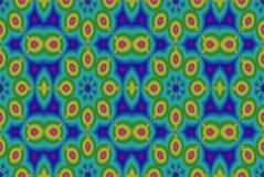 Фракталь: Обман зрения в син, зеленых цветах и желтом цвете иллюстрация вектора