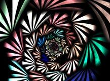 Фракталь: Пестротканая спираль световых лучей иллюстрация штока