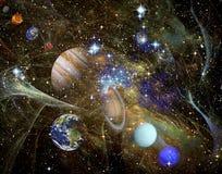 Фракталь: Фрактали, планеты и звезды иллюстрация штока
