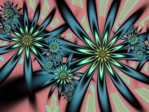 Фракталь: Цветки в семгах, Teal и зеленом цвете бесплатная иллюстрация