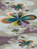 Фракталь: Яркие цветки фрактали на покрашенной предпосылке бесплатная иллюстрация
