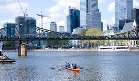 Франкфурт-на-Майне - весельная лодка на реке Стоковые Фото