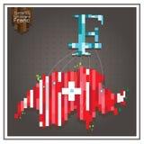 Франк денег дела и тратить th пунктирных линий Швейцарии Стоковая Фотография