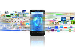 Франтовские телефон и интернет иллюстрация вектора