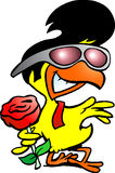 Франтовской цыпленок держа розу Стоковое фото RF