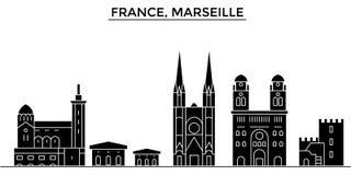 Франция, горизонт города вектора архитектуры марселя, городской пейзаж перемещения с ориентир ориентирами, зданиями, изолировала  иллюстрация вектора