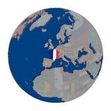 Франция на политическом глобусе Стоковые Изображения