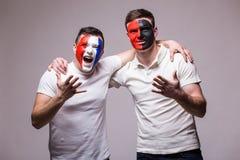 Франция против Албании Футбольные болельщики поддержки национальных команд дружелюбной перед спичкой Стоковая Фотография