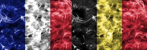 Франция против флага дыма Бельгии Стоковое Изображение RF