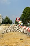 Франция ремонтирует дорогу к Стоковые Фото
