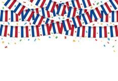 Франция сигнализирует предпосылку гирлянды белую с confetti, овсянкой вида на День независимости Franch бесплатная иллюстрация