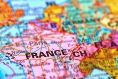 Франция, страна в Европе на карте Стоковые Изображения RF