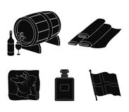 Франция, страна, нация, национальная Значки собрания страны Франции установленные в черном стиле vector иллюстрация запаса символ бесплатная иллюстрация