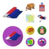 Франция, страна, нация, национальная Значки собрания страны Франции установленные в шарже, плоском запасе символа вектора стиля иллюстрация штока
