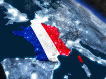 Франция с врезанным флагом от космоса иллюстрация вектора