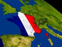Франция с флагом на земле Стоковые Изображения RF
