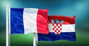 Франция - Хорватия, ВЫПУСКНЫЕ ЭКЗАМЕНЫ кубка мира футбола, России 2018 национальных флагов Стоковые Изображения RF