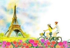 Франция, Эйфелева башня и пары любят человека, женщины иллюстрация вектора