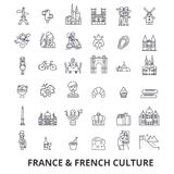 Франция, Эйфелева башня, француз, флаг Франции, Европа, Париж, парижская, триумфальная линия значки Editable ходы Плоский дизайн иллюстрация вектора