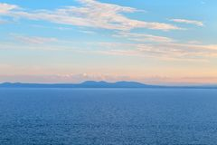 Франция южная Ландшафт Средиземного моря Заход солнца стоковые изображения rf