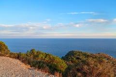 Франция южная Ландшафт Средиземного моря Заход солнца стоковые фото