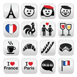 Франция, я люблю установленные значки Парижа Стоковые Фото