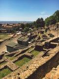 Франция lyon Взгляд археологической зоны античного периода на холме Fourviere Стоковые Фотографии RF