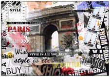 Франция paris Винтажная иллюстрация с Эйфелева башней Стоковые Изображения RF