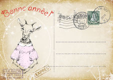 Французская винтажная открытка чертеж руки козы счастливое Новый Год иллюстрация Стоковая Фотография