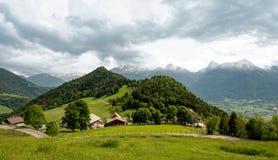 Французская гора Альп на Col de Ла Forclaz, Франции стоковые фото