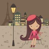 Французская девушка иллюстрация вектора