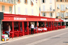 Французская ривьера кафа St Tropez Senequier стоковое фото