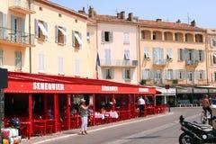 Французская ривьера кафа St Tropez Senequier стоковая фотография rf