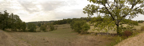 Французская сельская панорама ландшафта Стоковые Изображения RF