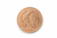 Французская старая золотая монетка 20 франков 1907 обратный Стоковые Изображения