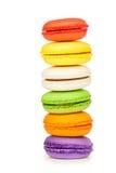 Французские красочные macarons изолированные на белизне Стоковая Фотография RF