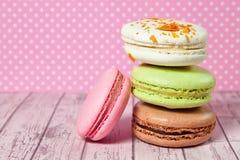 французские macaroons Десерт Стоковые Изображения