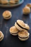 Французские macaroons с какао Стоковая Фотография