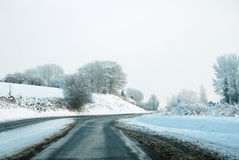 Французский ландшафт снега дороги Стоковое Изображение RF